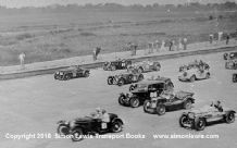 Frazer Nashs and MGs in a mass-start at Brooklands,Photo of  unknown event mid 1930s.